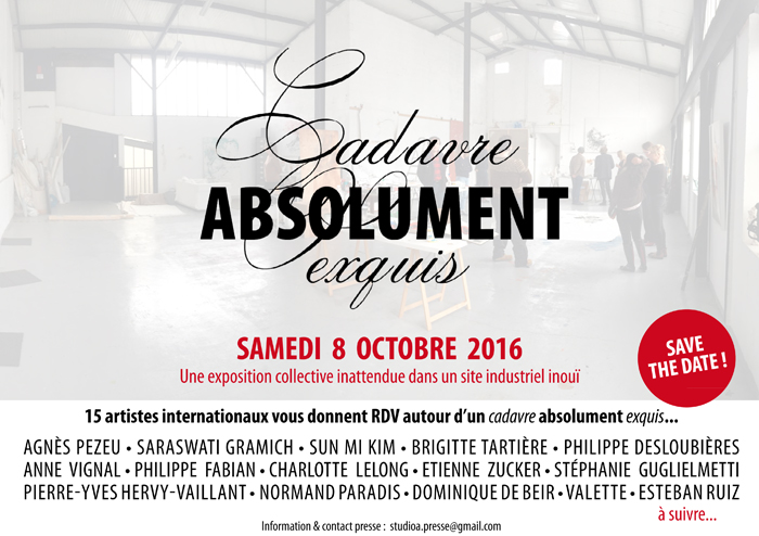 """Cadavre Absolument Exquis""- vernissage 8 octobre exposition StudioA - 7 rue Paul Bert - Paris/Courbevoie"